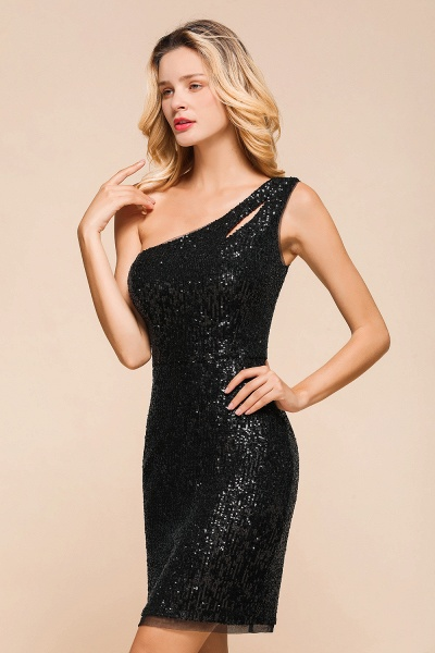 Latest One Shoulder Sequins Sheath Prom Dress_8