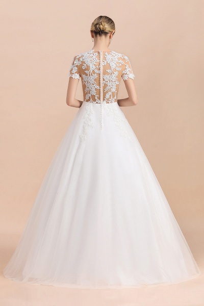 Chic Lace Tulle A-line Short Sleeve Wedding Dress_3