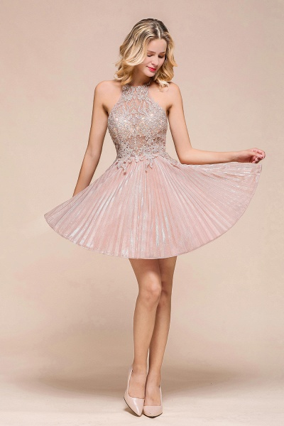 Cute Pleated Lace Appliques A-line Short Prom Dress_5