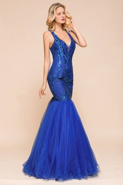 Gorgeous V-neck Open Back Sequins Mermaid Prom Dress_5