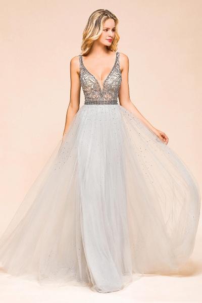 Latest Beading V-Neck Tulle Floor Length Prom Dress_6