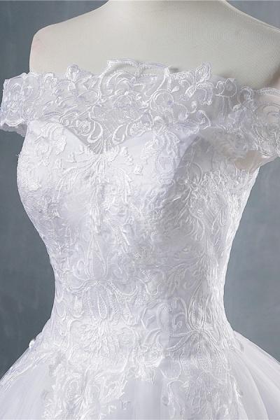 Elegant Appliques Lace Tulle A-line Wedding Dress_5