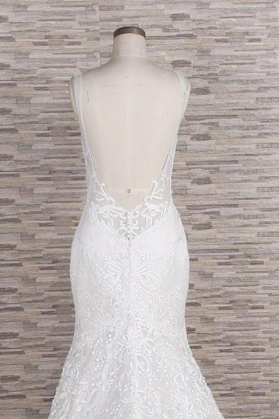 Chic Spaghetti Strap Appliques Mermaid Wedding Dress_7