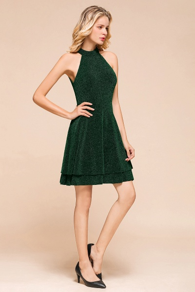 Cute Glitter Open Back Short A Line Prom Dress_5