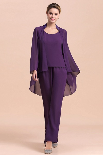Straps Beading Grape Chiffon Long Sleeve Mother of Bride Jumpsuit With Wrap_8
