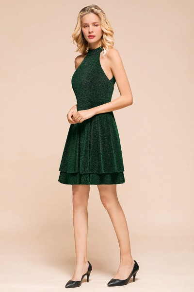 Cute Glitter Open Back Short A Line Prom Dress_6