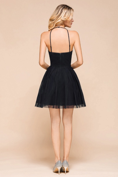 Sweet Halter Appliques Short A Line Prom Dress_3
