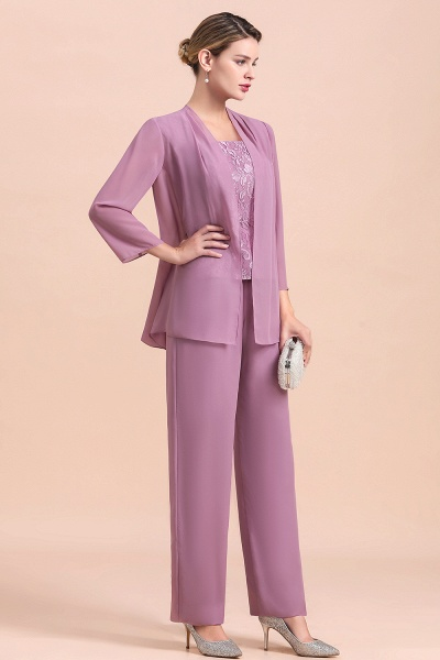 Elegant Lace Cap Sleeves Chiffon Mother of Bride Jumpsuit With Wrap_5