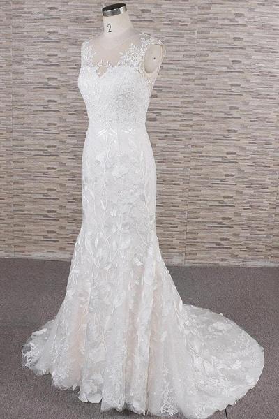 Elegant Lace Appliques Tulle Mermaid Wedding Dress_4