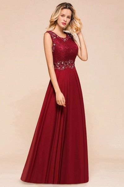 Elegant Lace Top Chiffon A-line Long Prom Dress_5