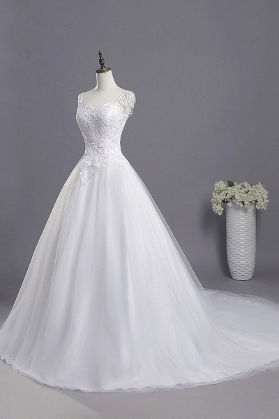 Beading Appliques Lace A-line Tulle Wedding Dress_4