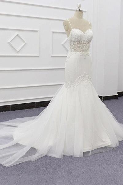 Chic Spaghetti Strap Beading Mermaid Wedding Dress_4