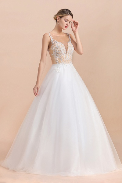 Graceful Illusion Lace Tulle A-line Wedding Dress_5