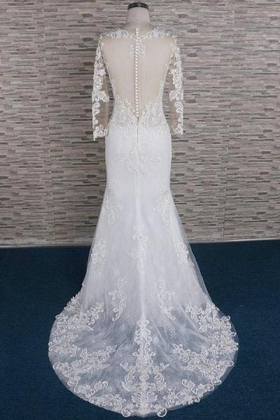 Beading Appliques Long Sleeve Mermaid Wedding Dress_3