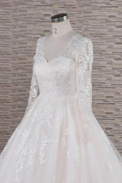 Graceful V-neck Long Sleeve Appliques Wedding Dress_6