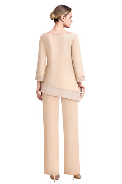 Chic Champagne Chiffon Long Sleeve Mother of Bride Jumpsuit_9