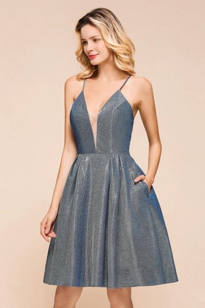 Glitter Spaghetti Strap A-line Short Prom Dress_8