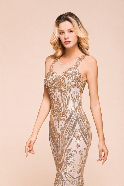 Amazing Illusion Sequins Tulle Mermaid Prom Dress_8
