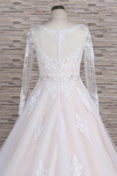 Illusion Appliques Long Sleeve Tulle Wedding Dress_7
