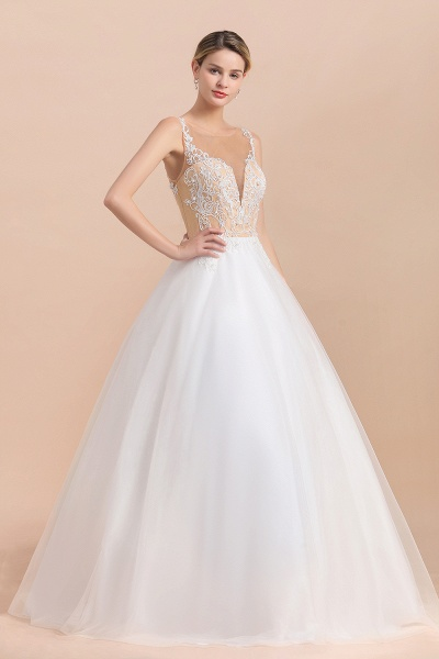 Graceful Illusion Lace Tulle A-line Wedding Dress_7