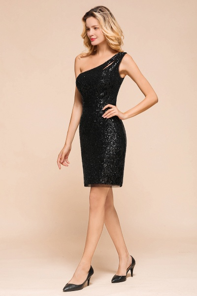 Latest One Shoulder Sequins Sheath Prom Dress_7