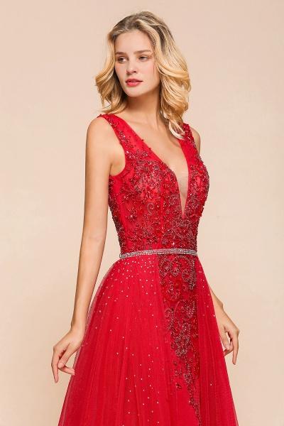Detachable Deep V-Neck Sleeveless Beadings Tulle Prom Dress_9
