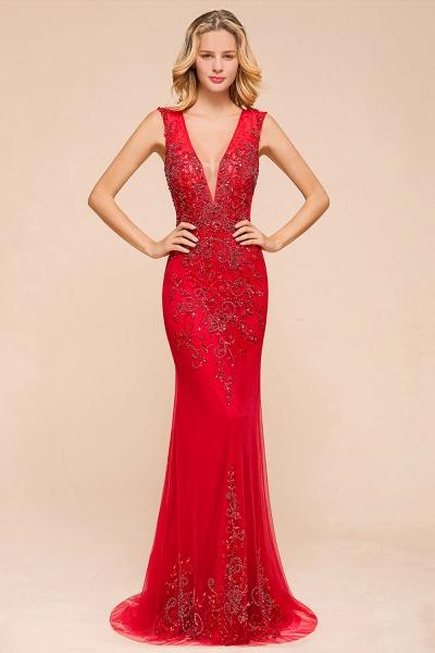 Detachable Deep V-Neck Sleeveless Beadings Tulle Prom Dress_4
