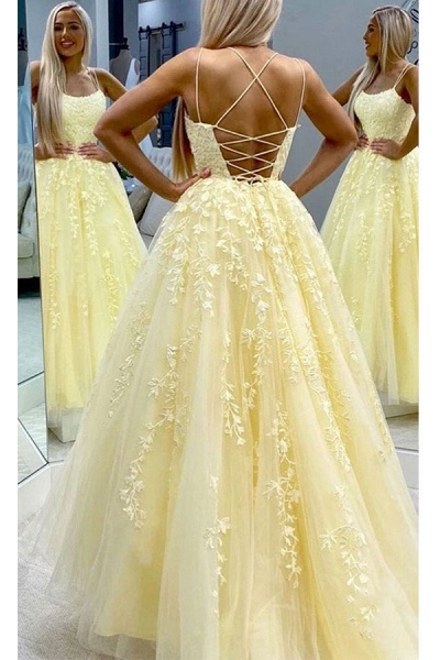 BC3627 A-line Lace Beaded Spagheitt Straps Evening Prom Dresses | Evening Party Prom Dresses_3