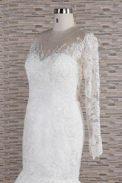 Graceful Appliques Long Sleeve Mermaid Wedding Dress_6