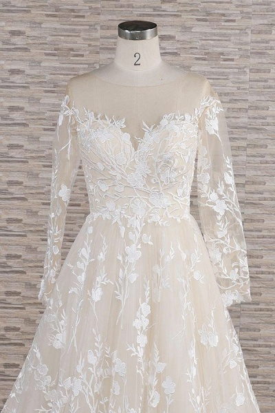 Illusion Long Sleeve Applqiues Tulle Wedding Dress_5