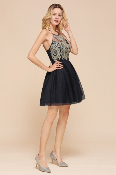 Sweet Halter Appliques Short A Line Prom Dress_4