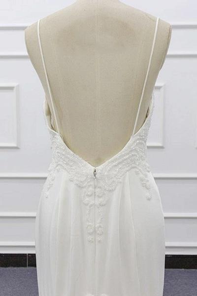 Chic Spaghetti Strap Beading Mermaid Wedding Dress_8