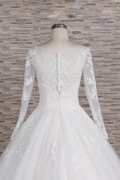 Graceful Appliques Long Sleeve A-line Wedding Dress_7