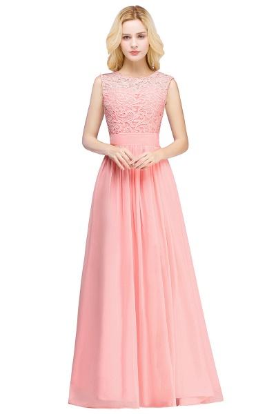 Sheath Crew Sleeveless Floor-length Lace Top Chiffon Bridesmaid Dresses_6