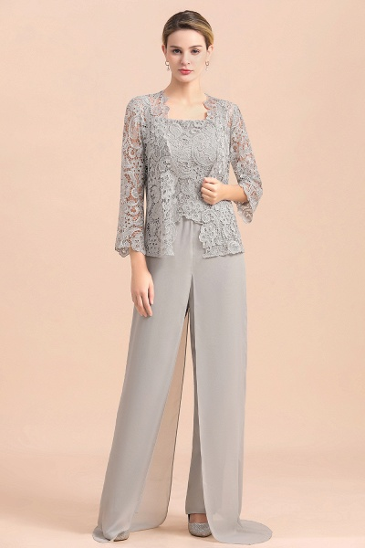 Chic Silver Lace Chiffon Long Sleeve Mother of Bride Jumpsuit With Wrap_1