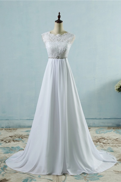 Chic A-line Lace Chiffon Floor Length Wedding Dress_1