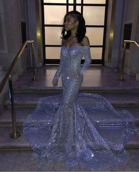 Long Sleeve Strapless Sequins Train Mermaid Prom Dresses_2