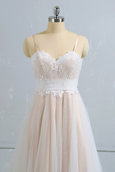 Cute Spaghetti Strap Lace A-line Wedding Dress_4