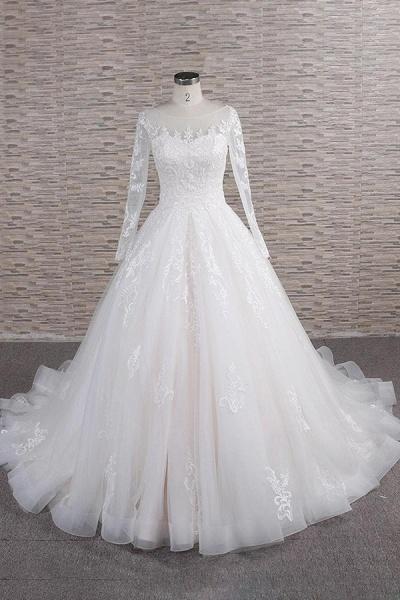 Graceful Appliques Long Sleeve A-line Wedding Dress_1