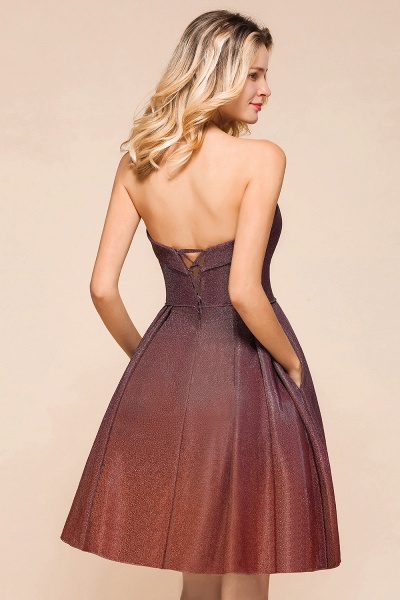 Ombre Sweetheart Backless Short A Line Prom Dress_9
