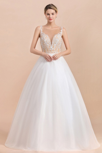 Graceful Illusion Lace Tulle A-line Wedding Dress_1