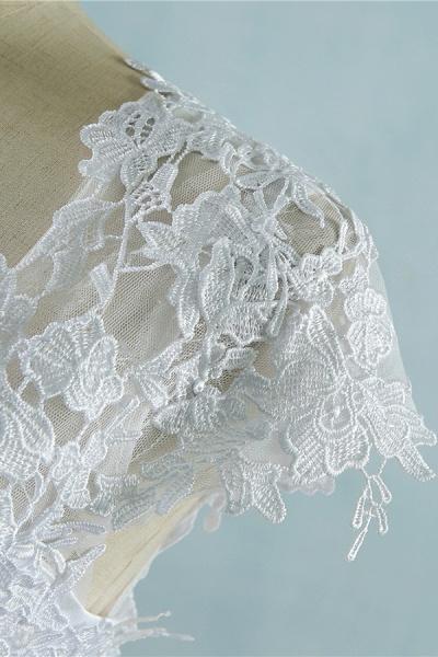 Appliques Cap Sleeve Tulle A-line Wedding Dress_7