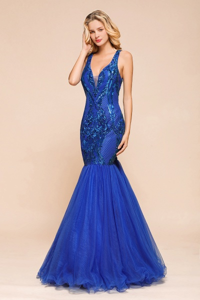 Gorgeous V-neck Open Back Sequins Mermaid Prom Dress_4