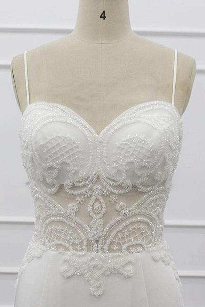 Chic Spaghetti Strap Beading Mermaid Wedding Dress_6