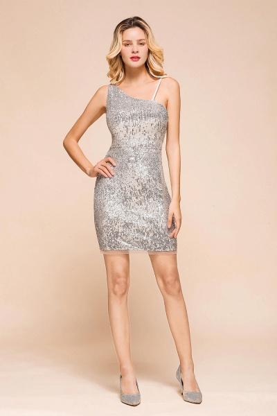 Affordable One Shoulder Sheath Short Prom Dress_1