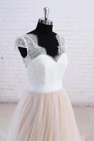 Cute Bow Lace V-neck Tulle A-line Wedding Dress_4