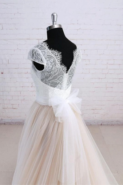 Cute Bow Lace V-neck Tulle A-line Wedding Dress_5