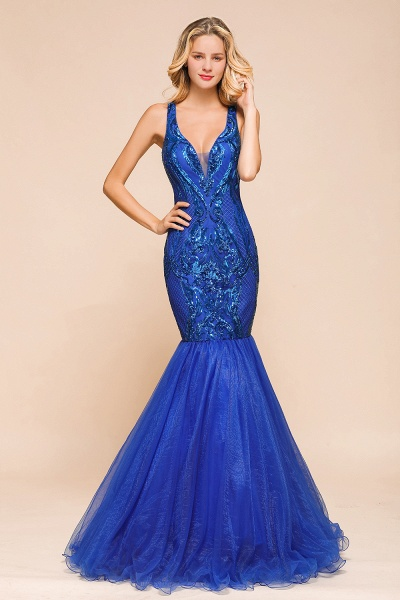 Gorgeous V-neck Open Back Sequins Mermaid Prom Dress_1