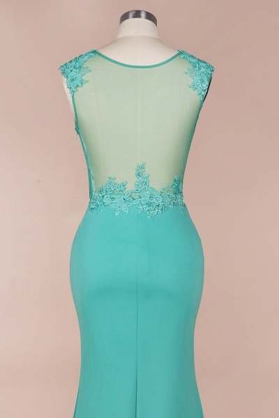 Lace appliques Mint Green Round Neck Cap sleeve Prom Dress_4