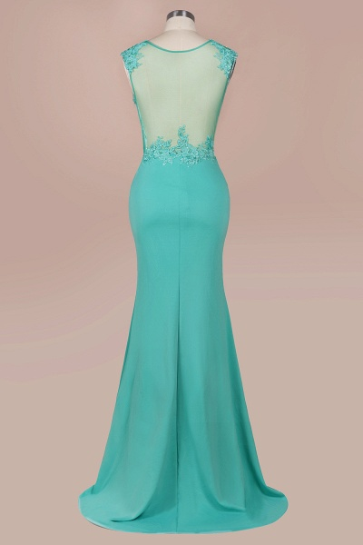 Lace appliques Mint Green Round Neck Cap sleeve Prom Dress_7